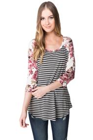 Striped Baseball Shirt with Floral Sleeves
