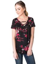 Short Sleeve Floral Top with Criss Cross Detail