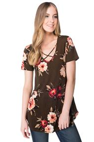 Short Sleeve Rose Pattern Top with Criss Cross Detail