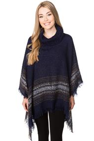 Plaid Border Poncho