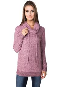 Super Soft Cowl Neck Sweater with Drawstring