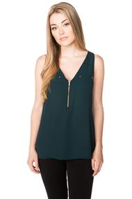 Sleeveless Blouse with Zipper and Faux Pockets
