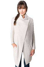 Knitted Long Sleeve Wrap Cardigan with Snap Closure