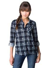 Plaid Shirt with Chest Pocket and Roll-up Sleeves