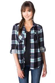 Plaid Boyfriend Shirt with Chest Pockets and Side Slits