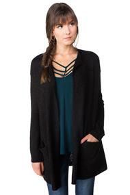 Open Cardigan with Patch Pockets