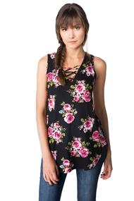 Floral Tunic with Criss Cross Detail