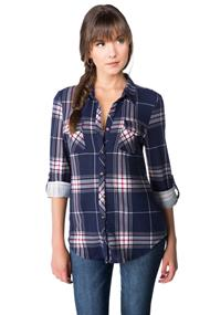 Plaid Knit Shirt with Chest Pockets and Roll-up Sleeves