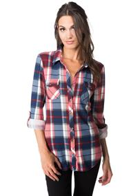 Plaid Knit Shirt with Roll-up Sleeves and Chest Pockets