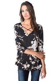 Floral 3/4 Sleeve Top with Criss Cross V-neck