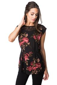 Rose Print Top with Lace Shoulders and Tie Belt