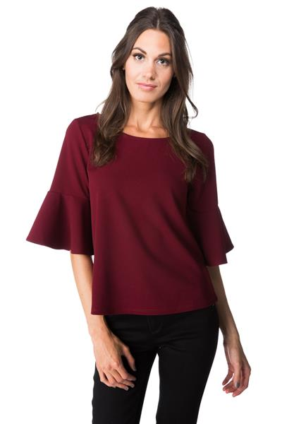 Scoop Neck Top with Bell Sleeves