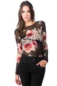 Long Sleeve Floral Mesh Bodysuit