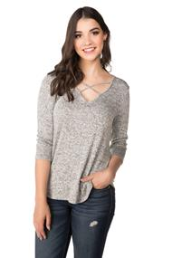 Sweater with Criss Cross V-neck