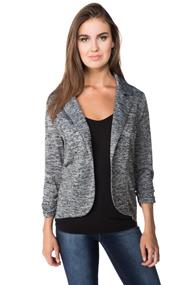 Knit Blazer with Ruched Sleeves