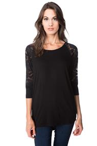 Dolman Top with Lace Sleeves