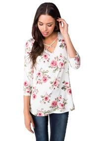Floral 3/4 Sleeve Top with V-neck and Criss Cross Details