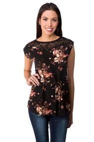 Floral Sleeveless Top with Lace Shoulders