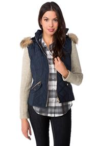 Quilted Vest with Knitted Sleeves and Faux Fur Trim Hood