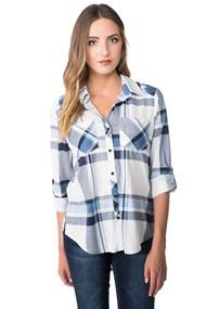 Plaid Boyfriend Shirt with Side Slits and Chest Pockets