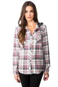 Ashley Plaid Flannel Shirt with Hood