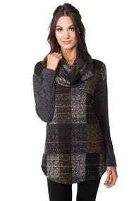 Plaid Cowl Neck Tunic with Solid Sleeves