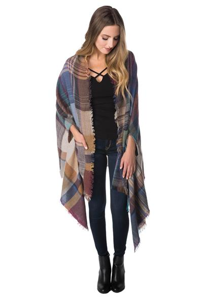 Plaid Shawl with Armholes and Pockets