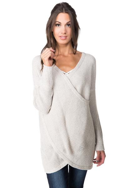 Long Sleeve Crossover Wrap Sweater