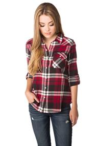Flannel Plaid Shirt with Roll-up Sleeves