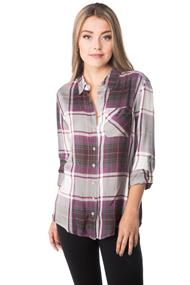 Natalia Plaid Shirt with Roll-up Sleeves