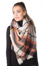 Neutral Plaid Blanket Scarf