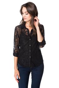 Lace Shirt with Roll-up Sleeves