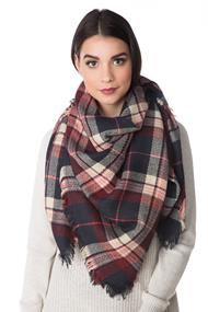 Navy and Burgundy Plaid Blanket Scarf