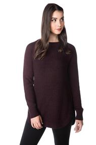 Crewneck Sweater with Shirttail Hem and Side Slits