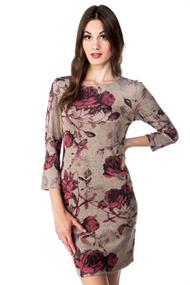 Rose Print Dress with 3/4 Length Sleeves