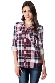 Boyfriend Plaid Shirt with Roll-up Sleeves and Chest Pockets