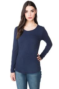 Essential Long Sleeve Tee with Shirttail Hem