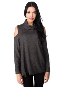 Cold Shoulder Long Sleeve Cowl Neck Sweater