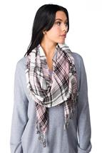 Plaid Oblong Scarf with Tassels