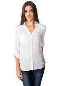V-neck Blouse with Roll-up Sleeves