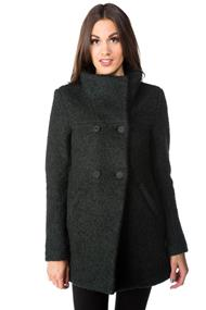 Only Double Breasted Bouclé Wool Coat with High Neck