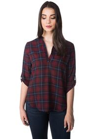 Phoebe Plaid Blouse with Roll-up Sleeves