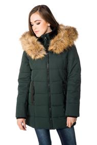 Point Zero Quilted Parka with Faux Fur Trim Hood