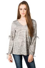 V-neck Sweater with Split Sleeves