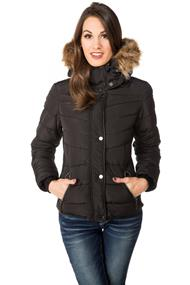 YMI Quilted Jacket with Faux Fur Trim Hood