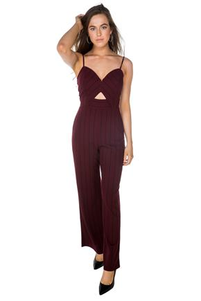 Stripe Spaghetti Strap Jumpsuit with Cut-Out