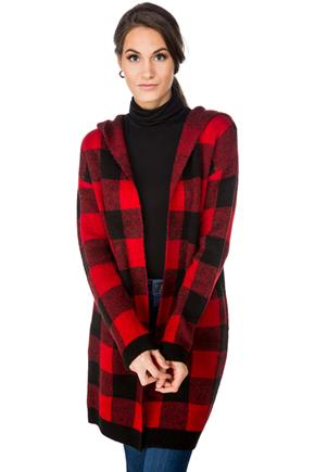 Buffalo Plaid Hooded Coatigan