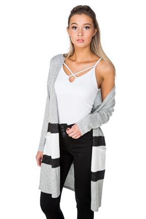 SuperSoft Colour-Blocked Long Sleeve Open Cardigan