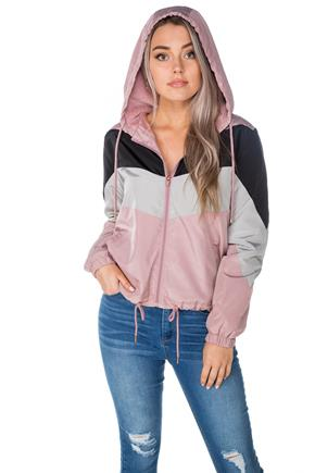 Colour-Blocked Hooded Windbreaker with Faux Fur Lining