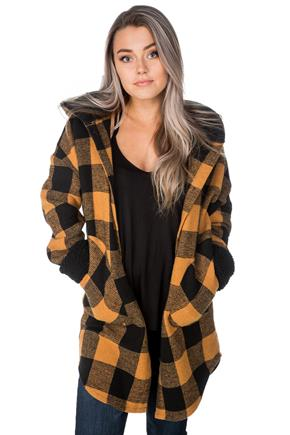 Brushed Buffalo Plaid Hooded Coat